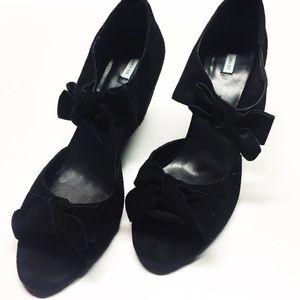Black suede wedge bow sandal Sz 9